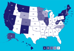 States' pro-choice grades from NARAL Pro-Choice America.