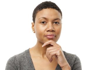 Woman considering