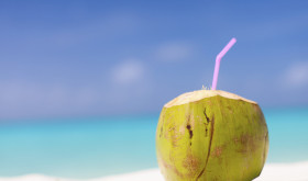 Coconut water on beach