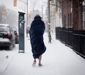Homeless woman in snow